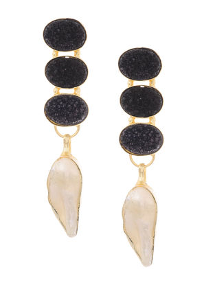 Black Druzy and Pearl Gold-plated Brass Earrings