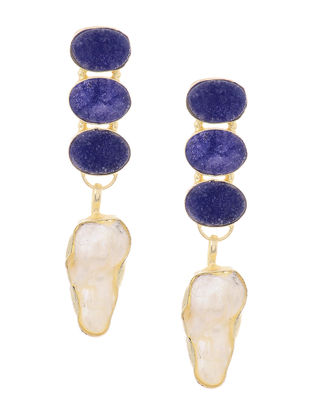 Blue Druzy and Pearl Gold-plated Brass Earrings