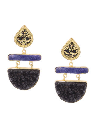 Blue-Black Druzy Gold-plated Brass Earrings with Theva Work