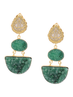 Green Druzy Gold-plated Brass Earrings with Theva Work