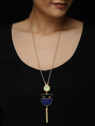Blue-Black Druzy Gold-plated Brass Necklace with Theva Work