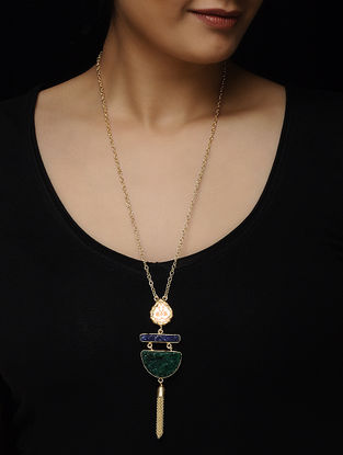 Blue-Green Druzy Gold-plated Brass Necklace with Theva Work