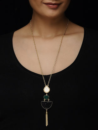 Green-Black Druzy Gold-plated Brass Necklace with Theva Work