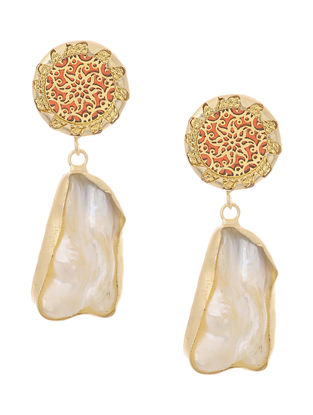White Pearl Gold-plated Brass Earrings with Theva Work