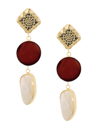 Red Onyx and Pearl Gold-plated Brass Earrings with Theva Work