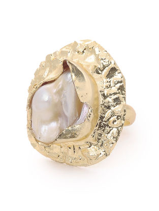 Pearl Gold-plated Brass Adjustable Ring