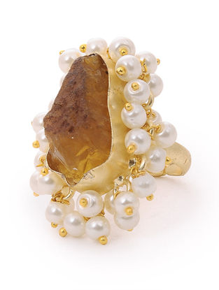 Smoky Quartz Gold-plated Brass Adjustable Ring