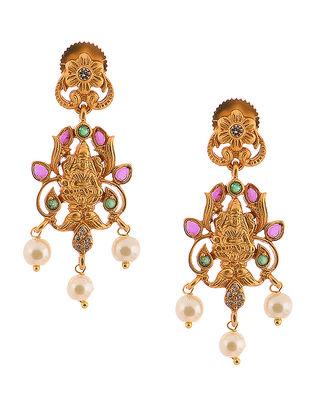Purple-Green Gold-Tone Pearl Copper Earrings with Deity Design