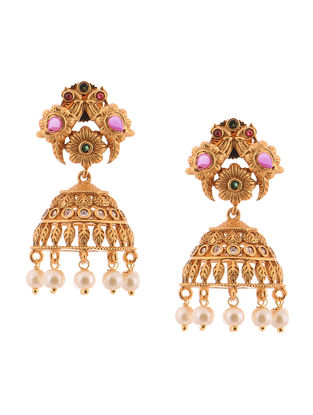 Pink-Green Gold-Tone Pearl Copper Jhumkis