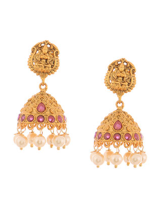 Pink Gold Tone Pearl Copper Jhumkis