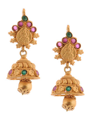 Purple-Green Gold Tone Copper Jhumkis with Deity Design