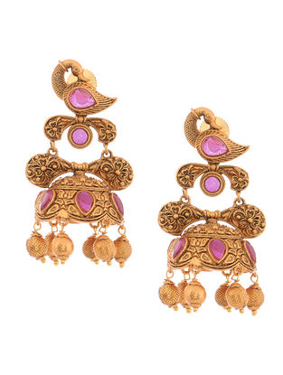 Purple Gold Tone Copper Jhumkis with Peacock Design