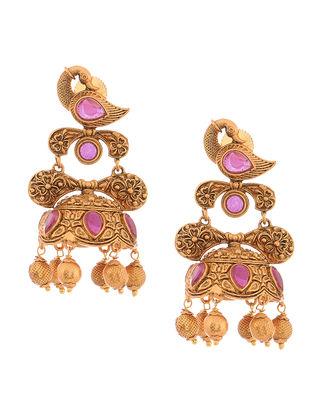 Purple Gold Tone Copper Jhumkis with Peacock Design