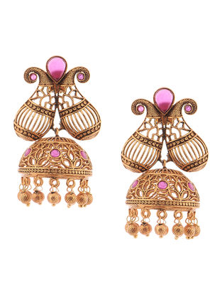 Purple Gold Tone Copper Jhumkis
