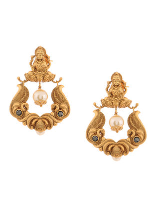 Gold Tone Copper Pearl Earrings with Deity Design