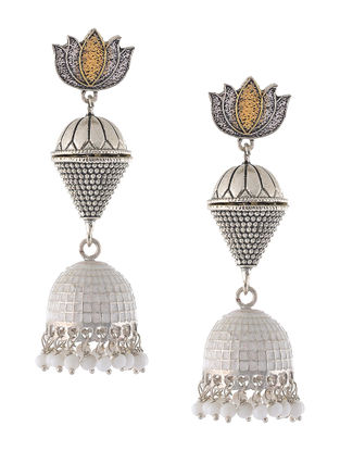 White Enameled Dual Tone Jhumkis with Lotus Design