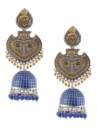Blue Enameled Dual Tone Jhumkis with Peacock Design