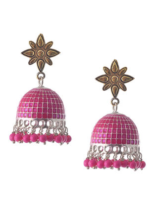 Pink Enameled Dual Tone Jhumkis with Peacock Design