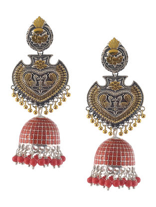 Red Enameled Dual Tone Jhumkis with Peacock Design
