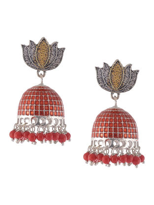Red Enameled Dual Tone Jhumkis with Lotus Design