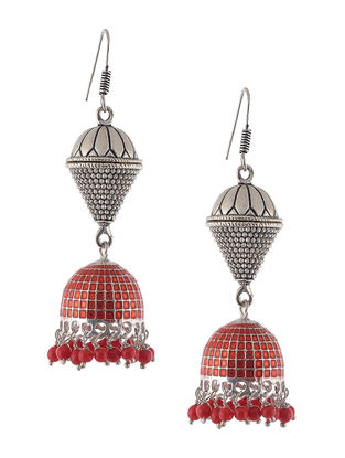 Red Enameled Jhumkis with Design