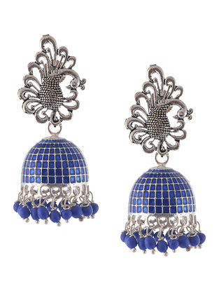 Blue Enameled Jhumkis with Peacock Design