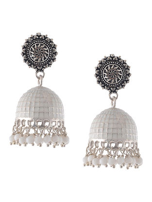 White Enameled Jhumkis with