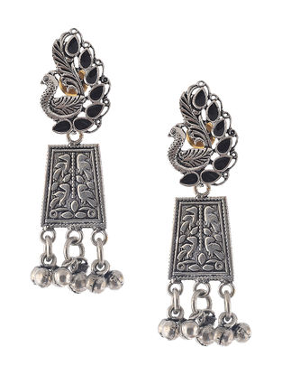 Black Enameled Earrings with Peacock Design