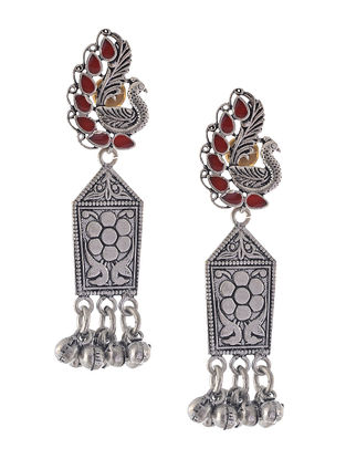 Red Enameled Earrings with Peacock Design