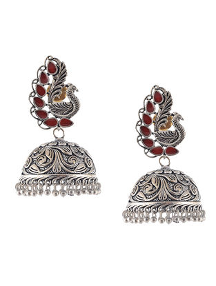 Red Enameled Jhumkis with Peacock Design
