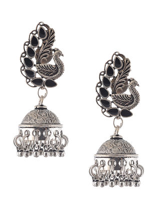 Black Enameled Jhumkis with Peacock Design