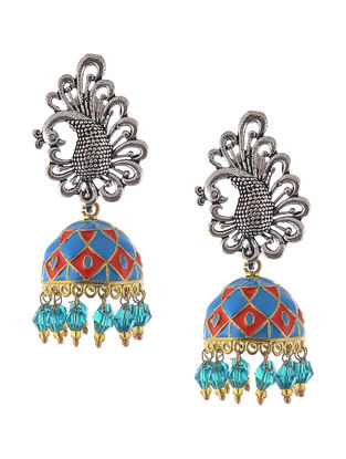 Blue-Peach Enameled Jhumkis with Peacock Design