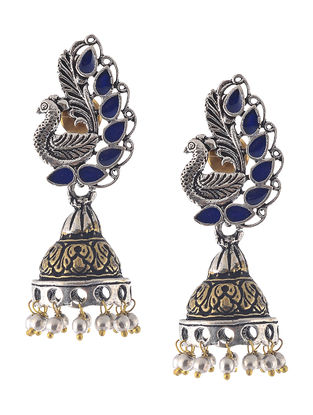 Blue Enameled Dua Tone Jhumkis with Peacock Design