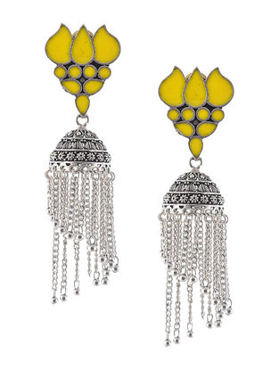 Yellow Enameled Jhumkis with Peacock Design