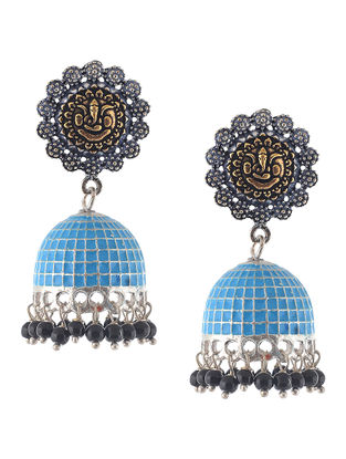 Blue Enameled Dual Tone Jhumkis with Lord Ganesha Design