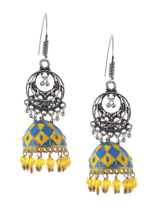 Yellow-Blue Enameled Jhumkis