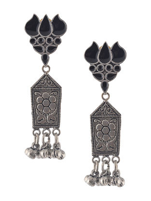 Black Enameled Jhumkis with Lotus Design