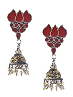 Red Enameled Dual Tone Jhumkis