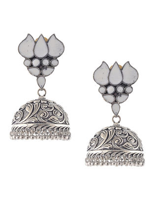 White Enameled Jhumkis with Lotus Design