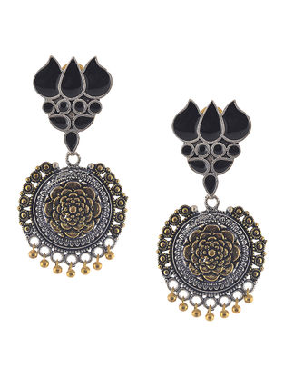 Black Enameled Dual Tone Jhumkis with Lotus Design