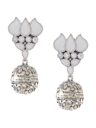 White Enameled Jhumkis