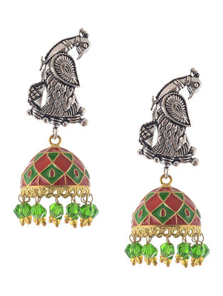 Green-Red Enameled Dual Tone Jhumkis with Peacock Design