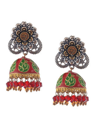 Red-Green Enameled Dual Tone Jhumkis