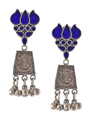Blue Enameled Jhumkis with Lotus Design