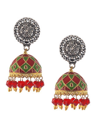 Green-Red Enameled Dual Tone Jhumkis