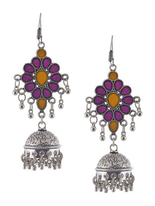 Pink-Orange Enameled Jhumkis