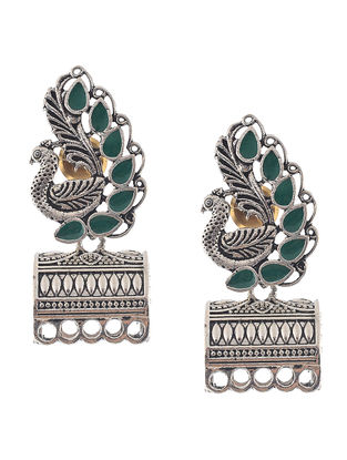 Green Enameled Jhumkis with Peacock Design