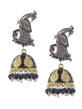 Black-White Enameled Dual Tone Jhumkis with Peacock Design