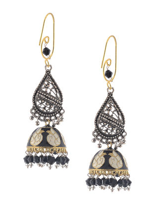 Black-White Enameled Dual Tone Jhumkis