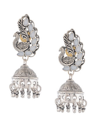 White Enameled Jhumkis with Peacock Design